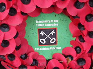 Poppy wreath: In memory of our Fallen Comrades. The Kohima Veterans