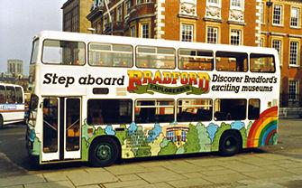 Bus advertising Bradford's attractions, 1980s