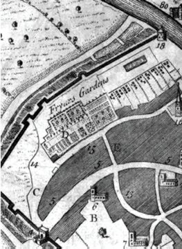 Detail from city of York map, Drake's 'Eboracum'