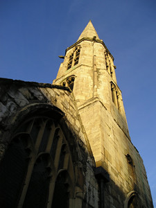 All Saints' spire, in evening sunlight