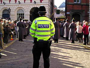 Policeman in St Helen's Square, Remembrance Day parade 2005