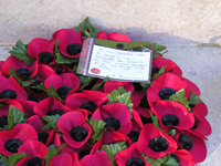 Poppy wreath, Station Rise – 'On behalf of the management and staff of the rail industry businesses in this city'