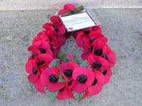 Poppy wreath, Station Rise memorial. 'From British Railways Engineers Ex-Servicemen's Association'