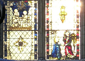 Minster stained glass, in winter sunlight