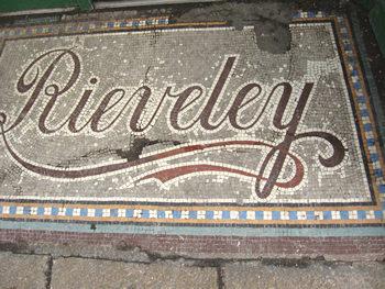 Doorstep detail – tiled lettering – Rieveley