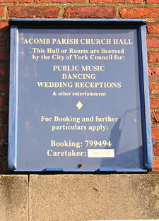 Sign – Acomb church hall