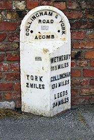 Late 19th century cast-iron milestone, Acomb