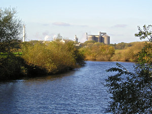 View across the Ouse towards sugar beet factory