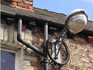 Bike tyre over street lamp