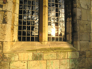 Sunlight reflected in Hospitium windows