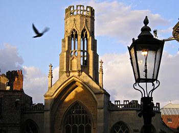 St Helen's, a lamp, and a pigeon