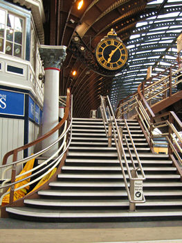 Steps and clock and roof, York Station