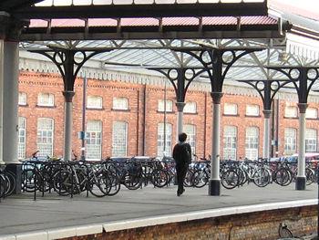 Bikes on station platform