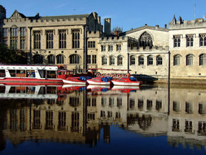 Guidhall and red boats and very blue Ouse