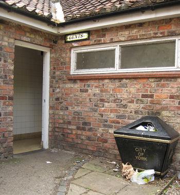 Overflowing bin, and seedy toilet block