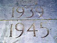 Plaque showing dates 1939-1945 – Station Rise war memorial, York