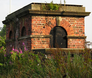 View of brick building which once supported water tank