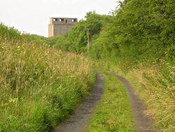 View of the abandoned Malton-Driffield railway line trackbed, near Wharram