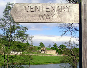 View towards Kirkham Abbey, with Centenary Way sign in foreground.