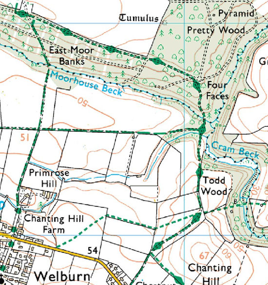 A Map Of Yorkshire. Ordnance survey map for page