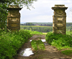 View of Castle Howard through gateposts