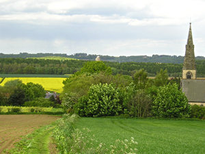 View of Welburn Church and Castle Howard Mausoleum